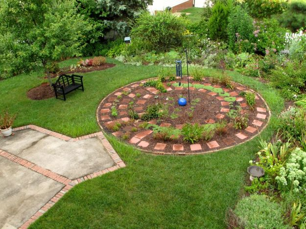 Garden With Meditation Circle After Rain