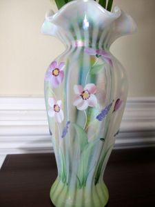 Hand painted Fenton Glass Vase - USA