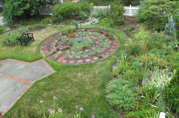 After The Rain. Garden View With Meditation Circle