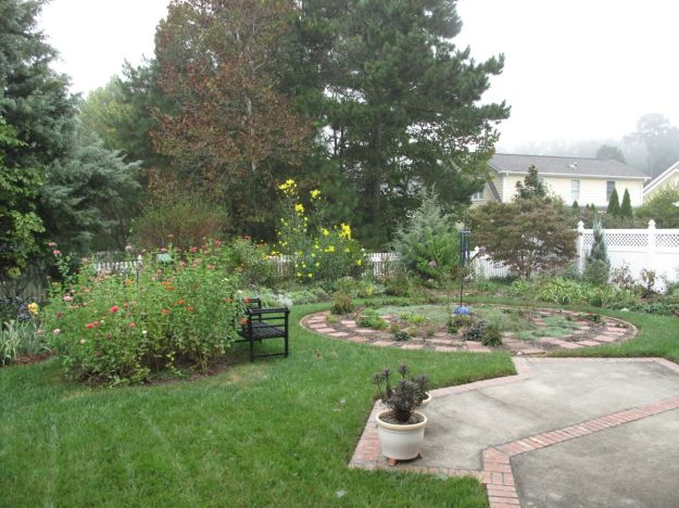 Garden View With Fog In The Distant Sky