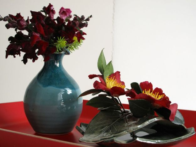 Antirrhinum majus (Snapdragon) and Camellia sasanqua 'Yuletide'
