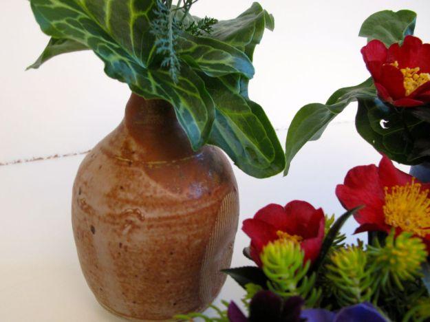 Arum italicum and Camellia sasanqua 'Yuletide'