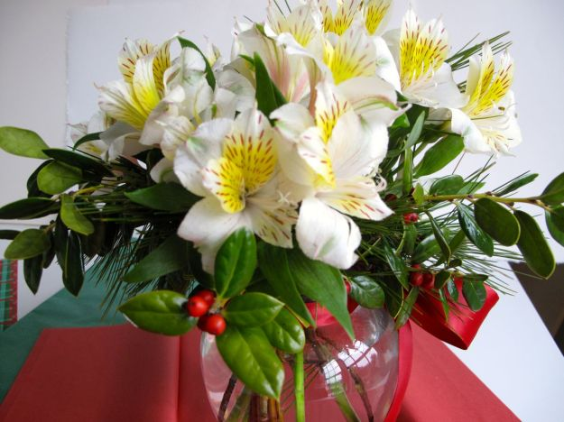 Gift Arrangement with Alstroemeria (Peruvian lily), Pine, Holly