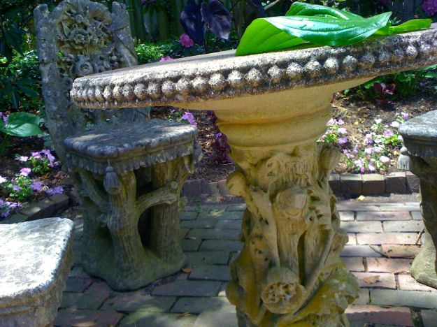 Carved Concrete Table and Chairs in Victorian Garden