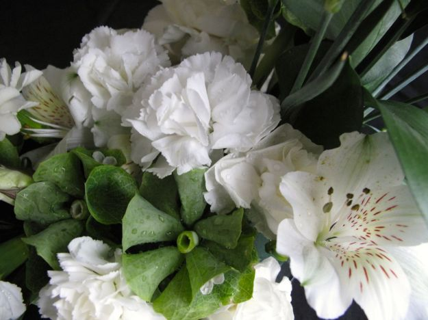 Carnations, Bells of Ireland and Alstroemeria