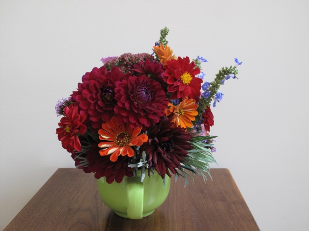 Dahlias and Zinnias - In A Vase On Monday
