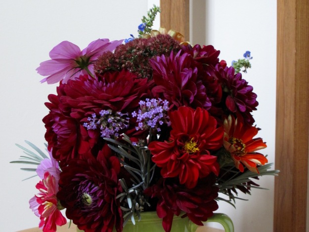 Dahlias and Zinnias - In A Vase On Monday – Version 2