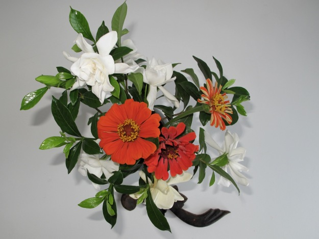 Gardenias and Zinnias - Overhead View