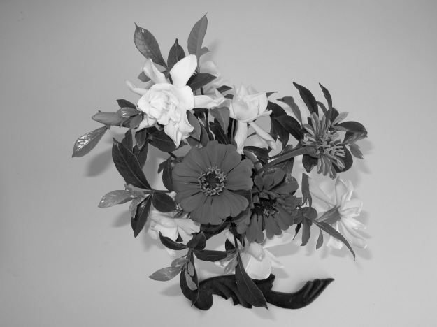 Large Vase - Gardenias and Zinnias (B&W)