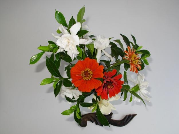 Large Vase - Gardenias and Zinnias