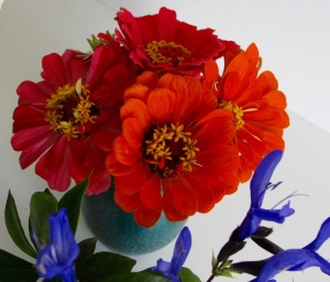 Vase of Pink and Orange Zinnias