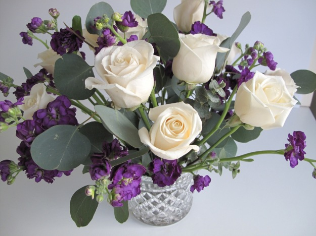 Roses, Stock and Eucalyptus