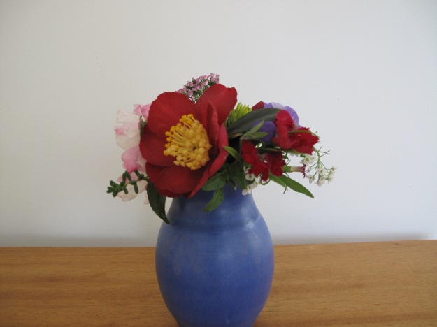 In A Vase On Monday-Camellia sasanqua 'Yuletide' and Dianthus 'Ideal Select Red'