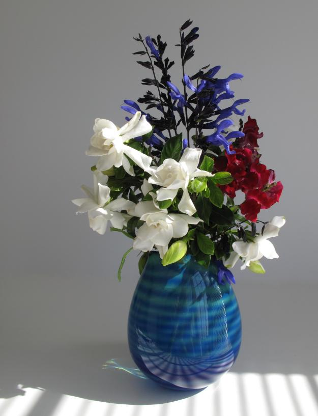 In A Vase On Monday—Gardenias With Blue And Red