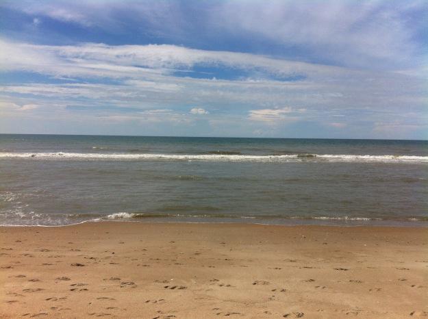 Calm beach at near low tide