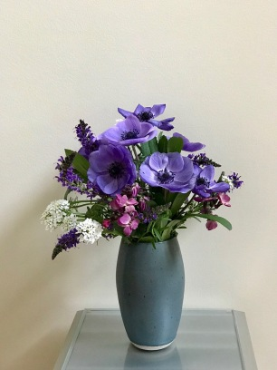 Anemones In Blue Vase -April 23, 2018