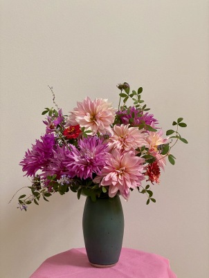 Dahlias In Blue Vase -September 12, 2020
