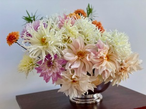 Dahlias In A Silver Bowl -October 19, 2020