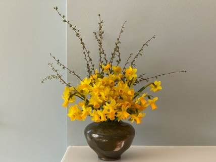 Daffodils In Green Vase -March 8, 2021