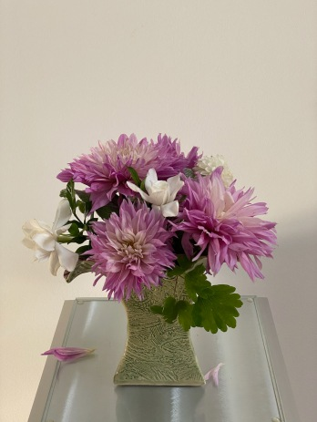 Dahlias In Textured Vase -October 11, 2021
